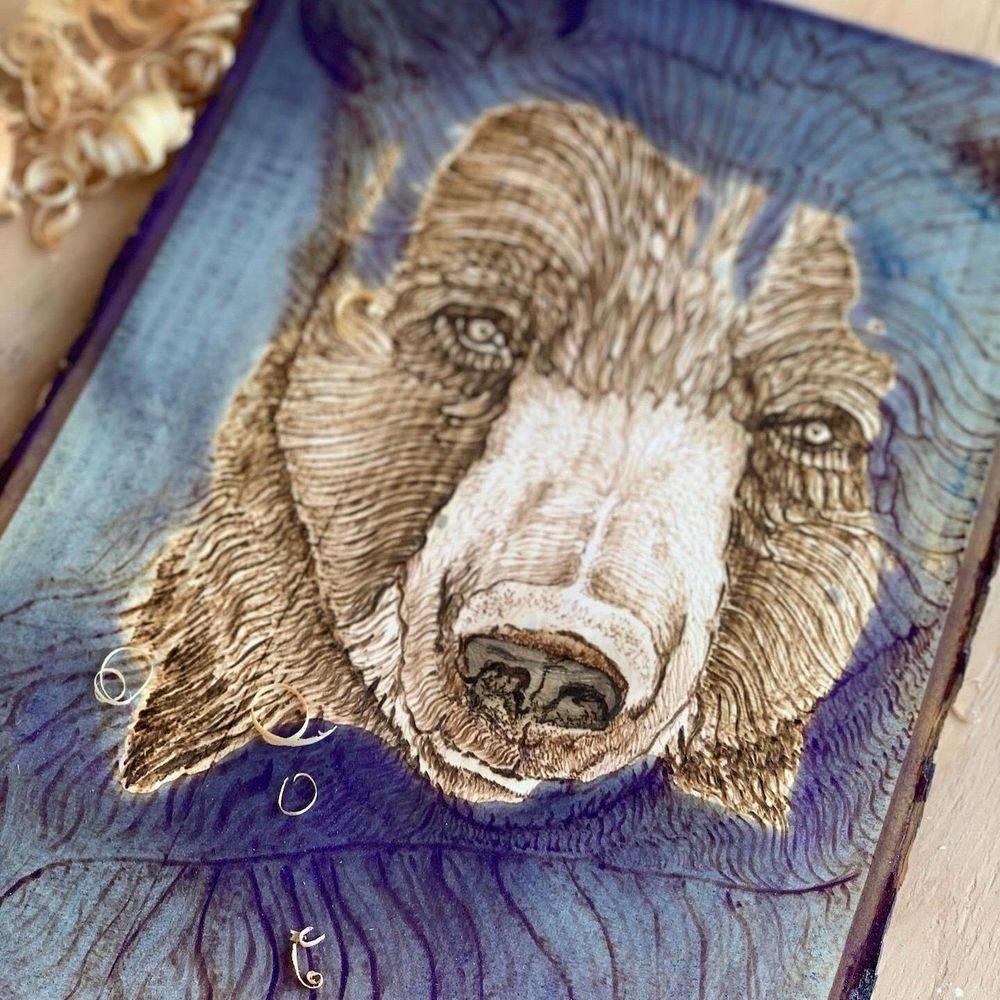 wood, bear, live edge wood, art, canada, pyrography, epoxy