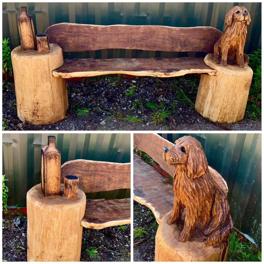 Dog Bench Chainsaw Carving, Mike Burgess, Cheshire UK