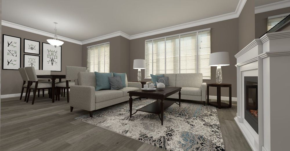 modern open concept living room, dining room, teal, grey wood hardwood, cream sofa, dark brown wood