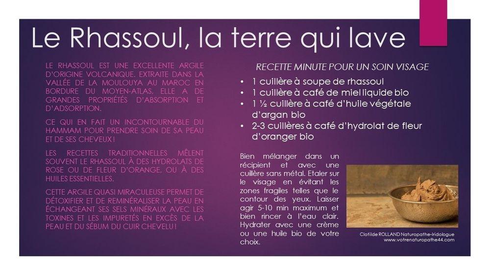 rhassoul argile marocaine fiche pratique naturopathie santé bien être