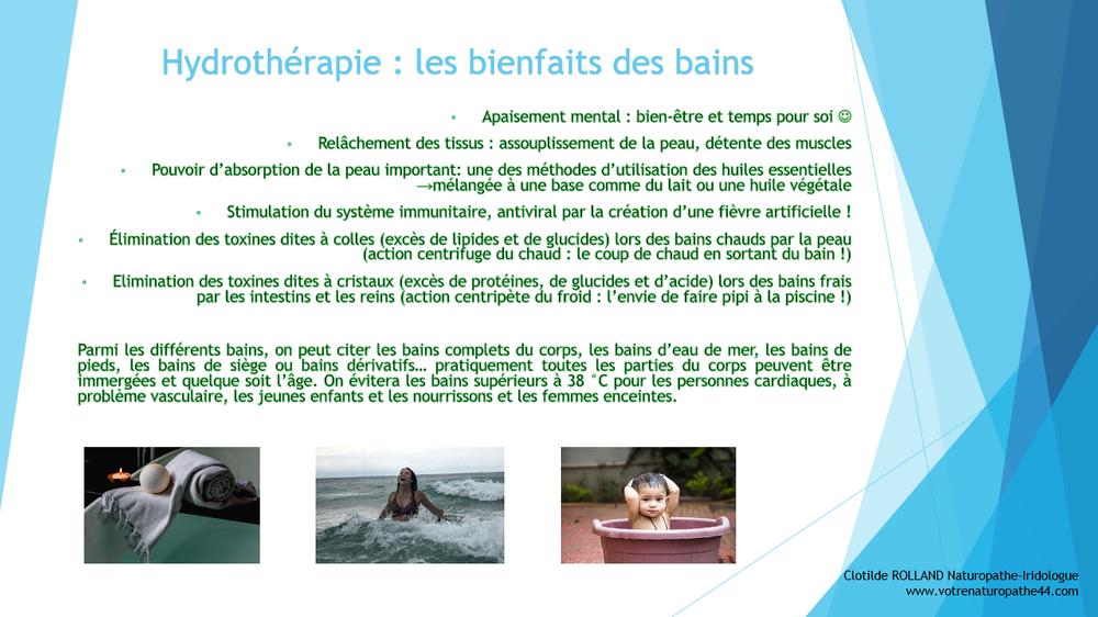fiche pratique naturopathie hydrotherapie bienfaits du bain
