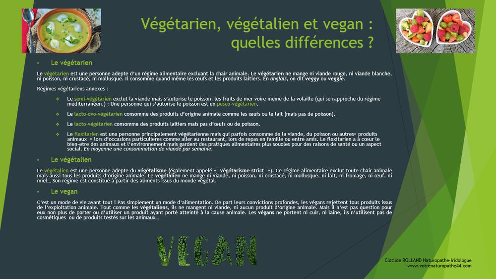 vegetarien vegan vegetalien comparatif fiche pratique naturopathie santé