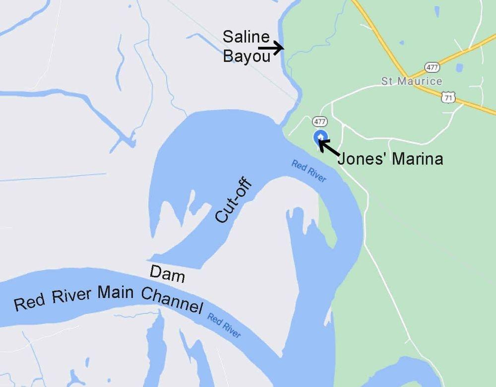 Red River, Map, marina, location, cutoff, dam, bayou