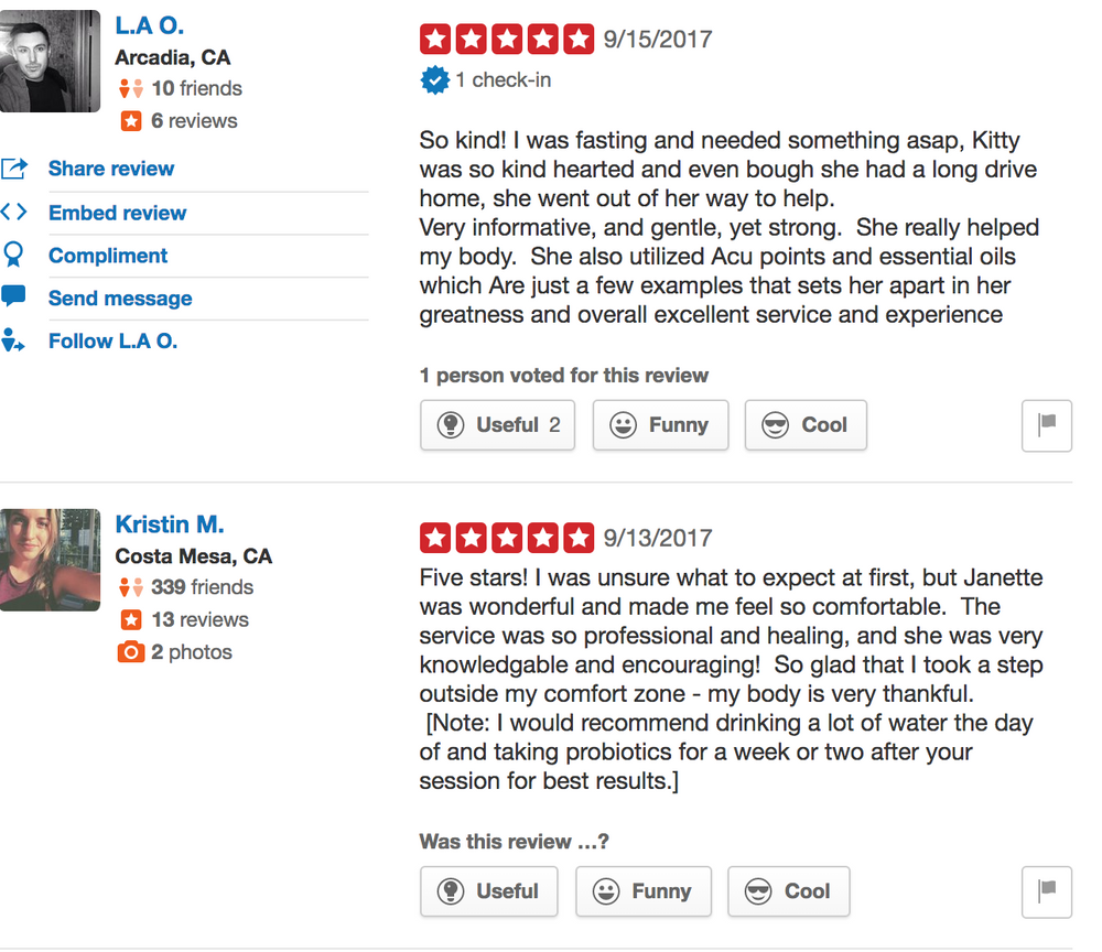 Happy colonic client testimonial on Yelp
