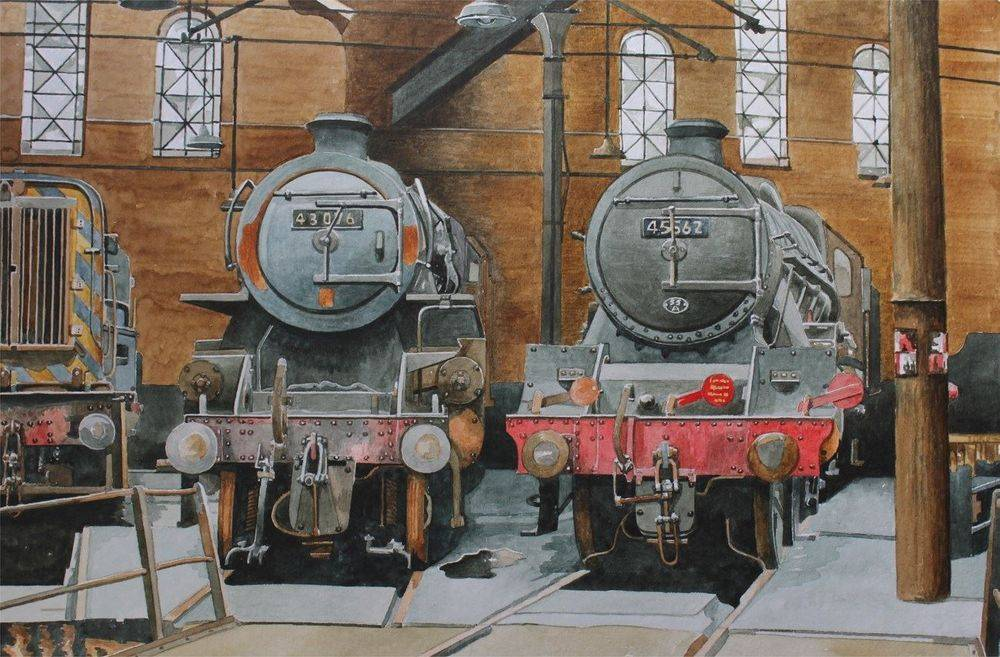Leeds Holbeck Shed 55A in July 1969 : Watercolour painting SOLD