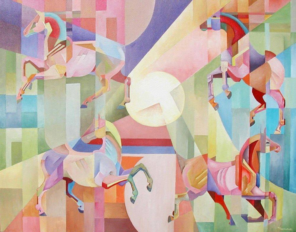 Prancing Around the Moon. Horses. Cubism Art Painting Modern