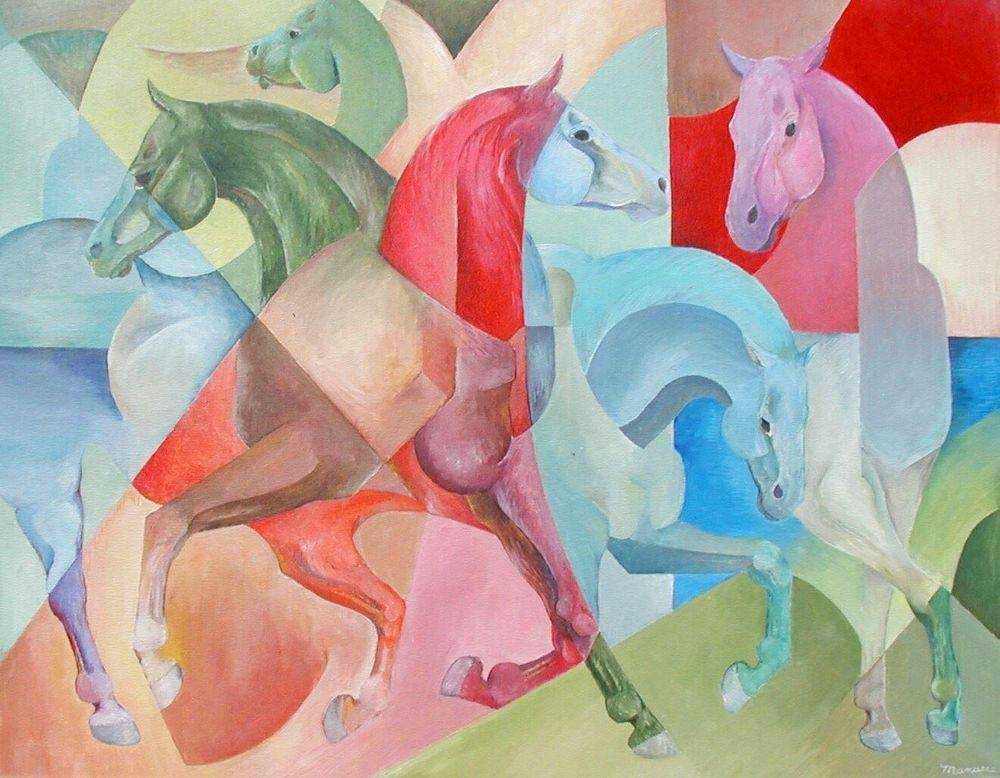 Horsing Around, Horse Painting, Cubism, Modern Art, Manasse