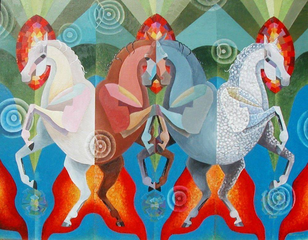 Horses of the Apocalypse. Cubism. Art. Painting.  4 horses.