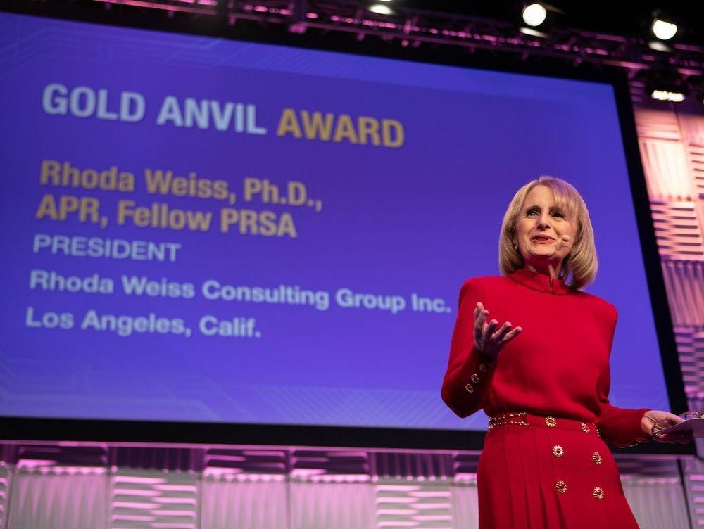 Rhoda Weiss giving acceptance speech for the PRSA Gold Anvil Award