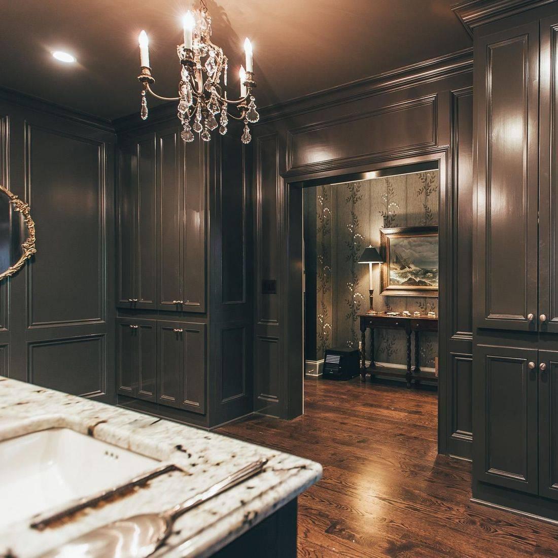 Photo of brown cabinets built around a doorway