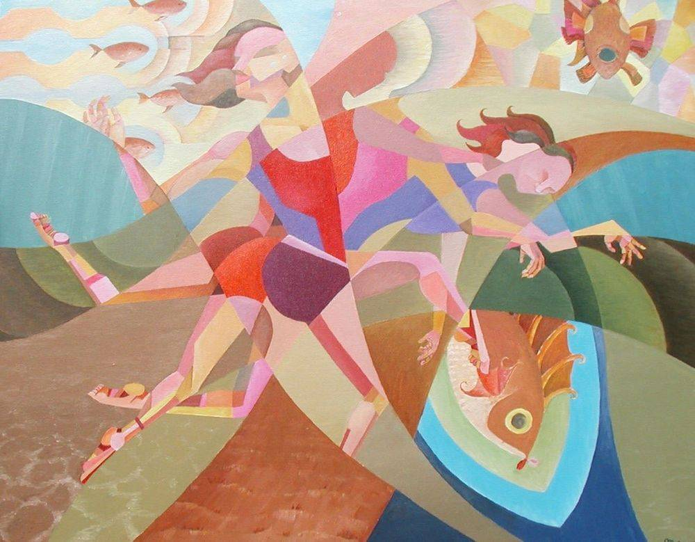 Lady Diver.  Woman Swimming.  Water.  Fish. Cubism. Art. Painting.