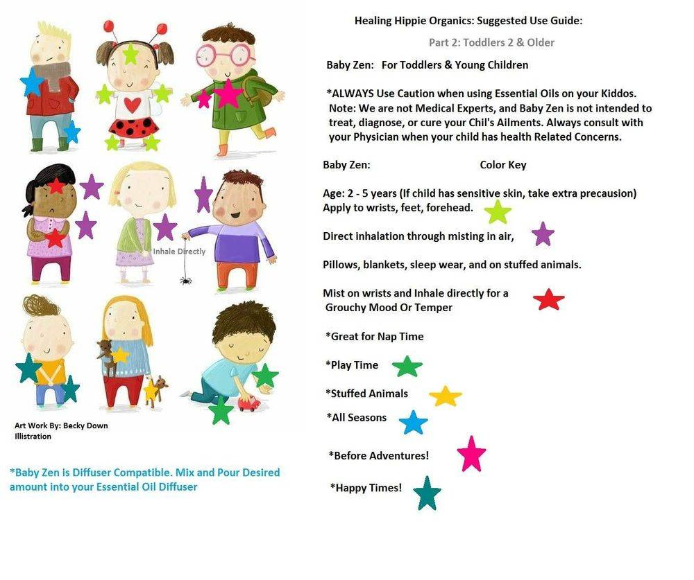 Baby Zen - Kids Instructions, Healing Hippie Organics, Boise, Idaho, USA
