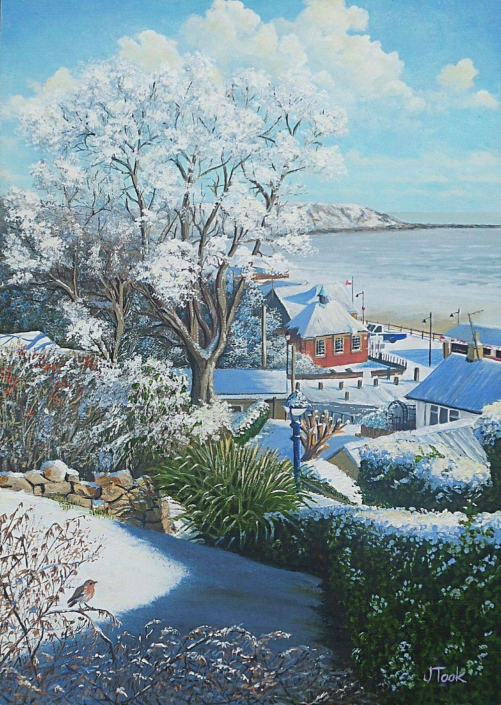Jane Took Art Filey Painting Beach snow