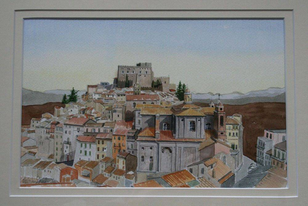 """Soriano Nel Cimino, Umbria, Italy Small town built on top of a hill in Western Italy near to the town of Viterbo, situated around mid distance between Florence and Rome. Mounted painting measures 50 x 40 cm (20"""" x 16""""). : £150"""