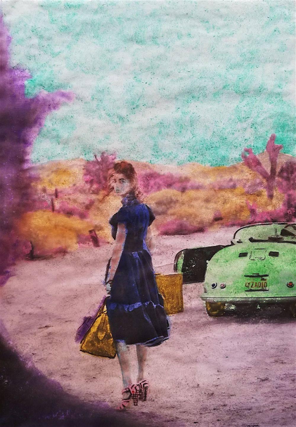 Aquarelle, Texture, Femme, Portrait, Histoire de l'art