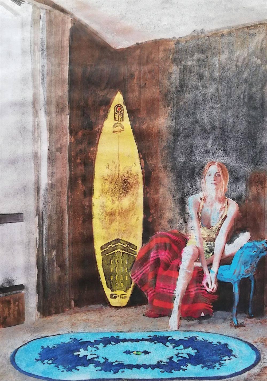 Aquarelle, Textile, Portrait, Homme, Histoire de l'art