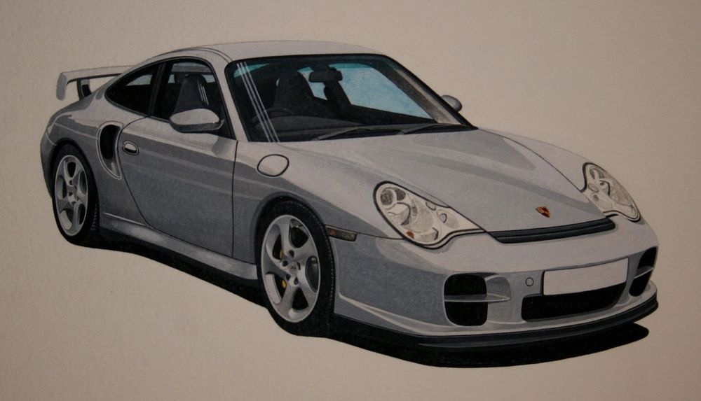 """Porsche GT2 Acrylic This was the artwork used for the Print. Measures approx 15"""" x 11"""" unmounted (38 x 28cm) : £60"""