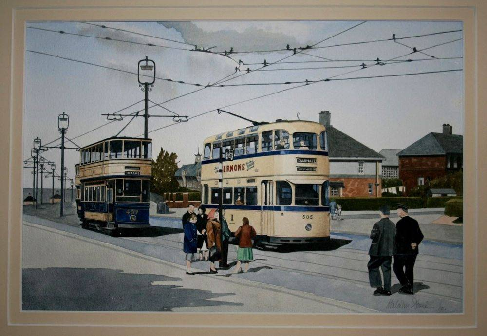 """Sheffield Trams Prince of Wales Road. This is painted in watercolour and double mounted in pale cream. The mounted size is 50 x 40 cm (20"""" x 16"""") : £250"""