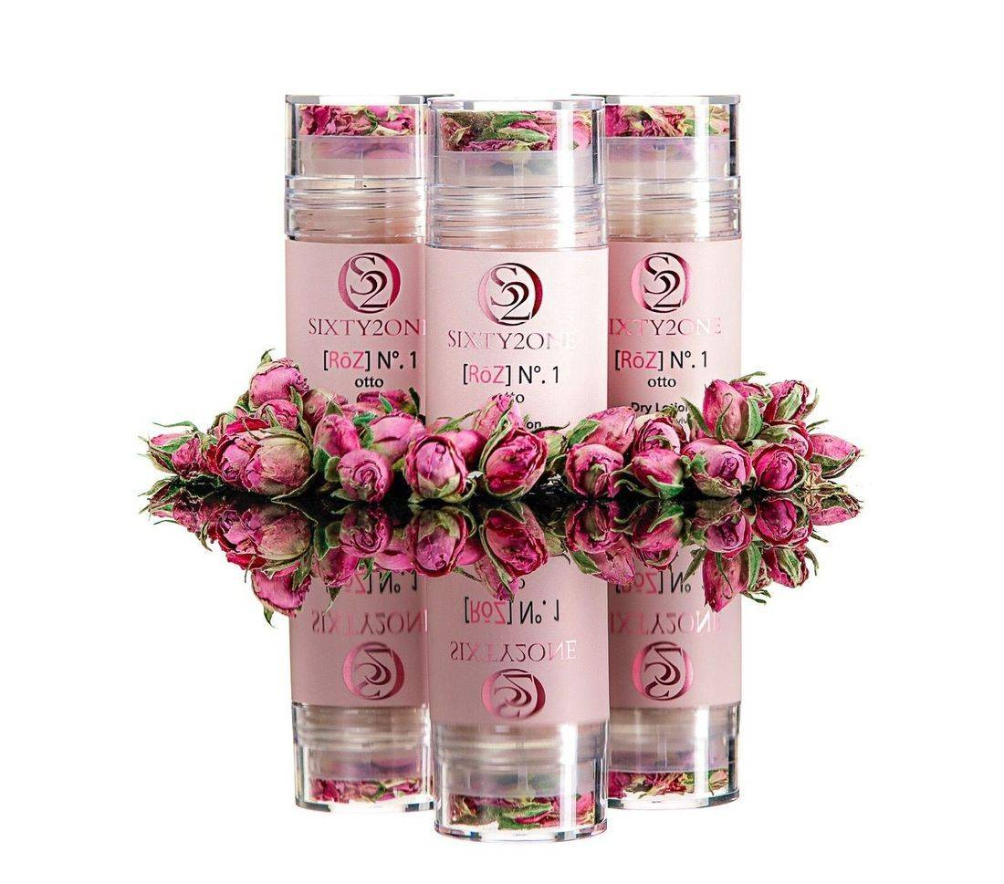 rose oil dry lotion, clean rose beauty, sixty2one, rose essential oil, rose otto, rose beauty