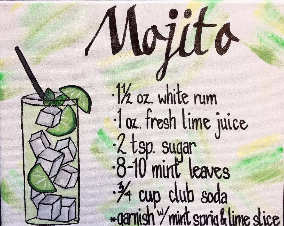 Mojito cocktail artwork bar art recipe drink