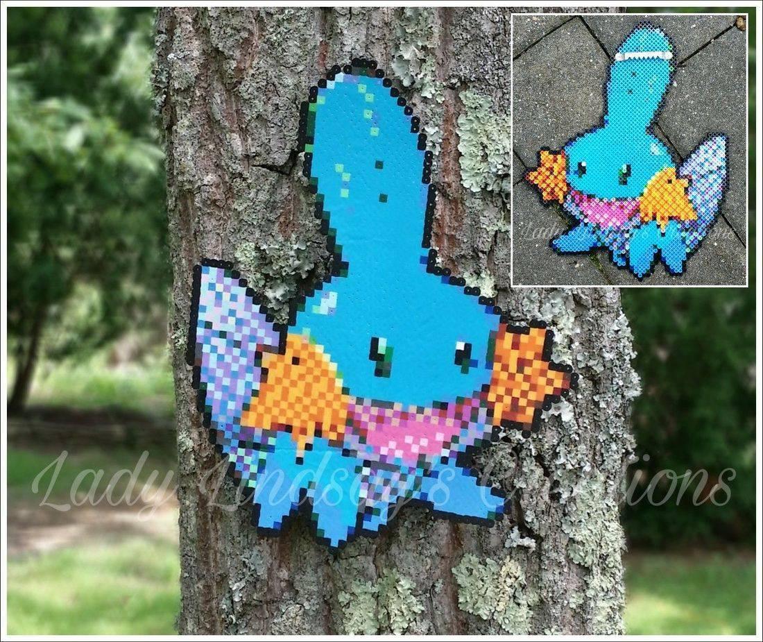 Mudkip, Pixel Art, Pixel, 8 bit, Nintendo, Wall Art, Handmade, Handcraft,  Shop Small, Pokemon, anime, kawaii, otaku, nerd, geek