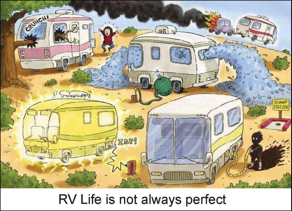 RV Park, Camper, RV, mishaps, cartoon, humorous, funny