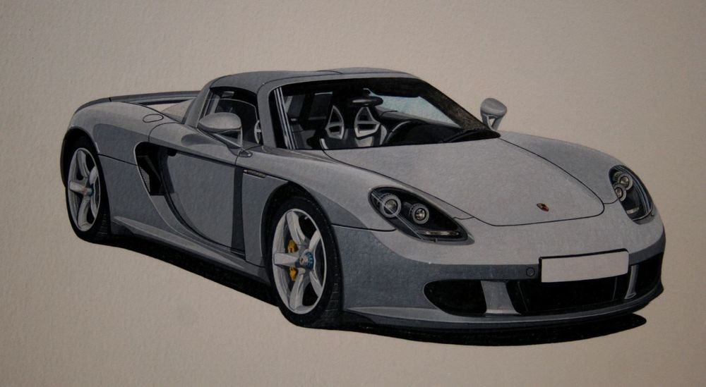 """Porsche Carrera GT Acrylic This was the artwork used for the Print. Measures approx 15"""" x 11"""" unmounted (38 x 28cm) : £60."""
