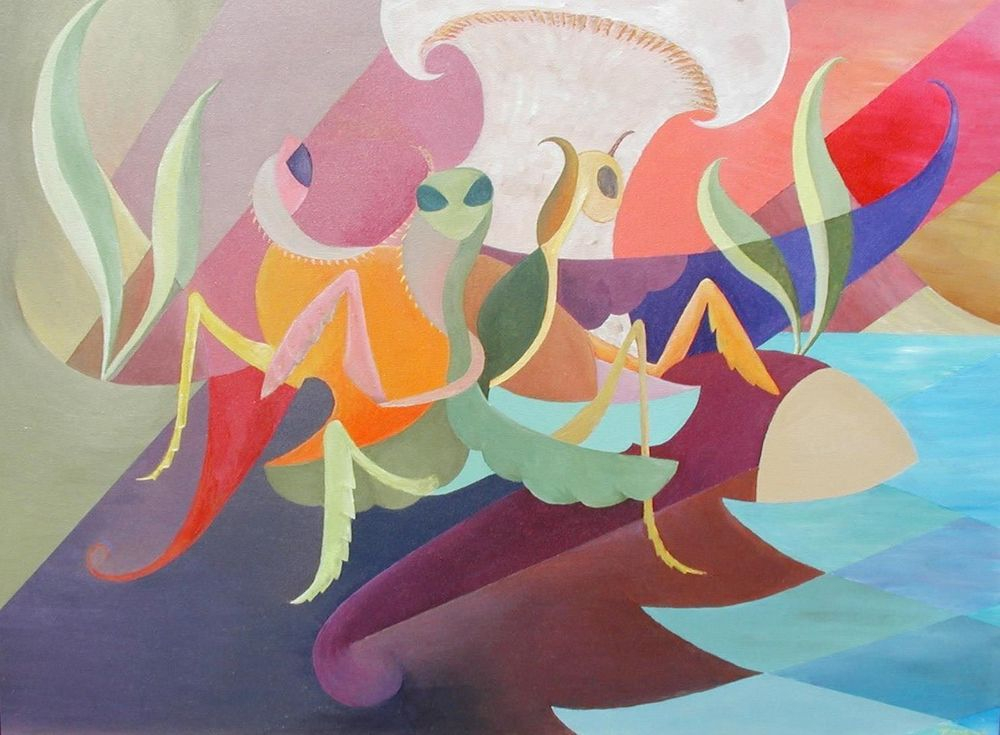 Praying Mantis. Cubism. Modern Contemporary Art. Painting. Insects.