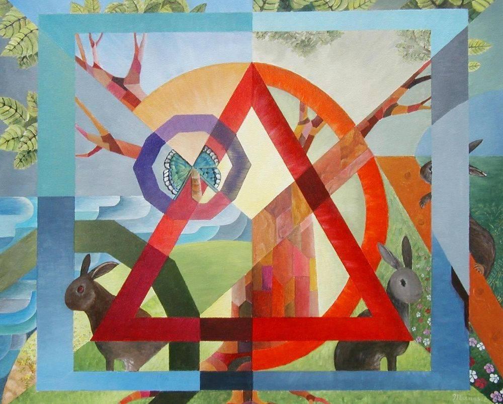 Bunnies and Butterflies.  Cubism, modern art, painting, rabbits, art