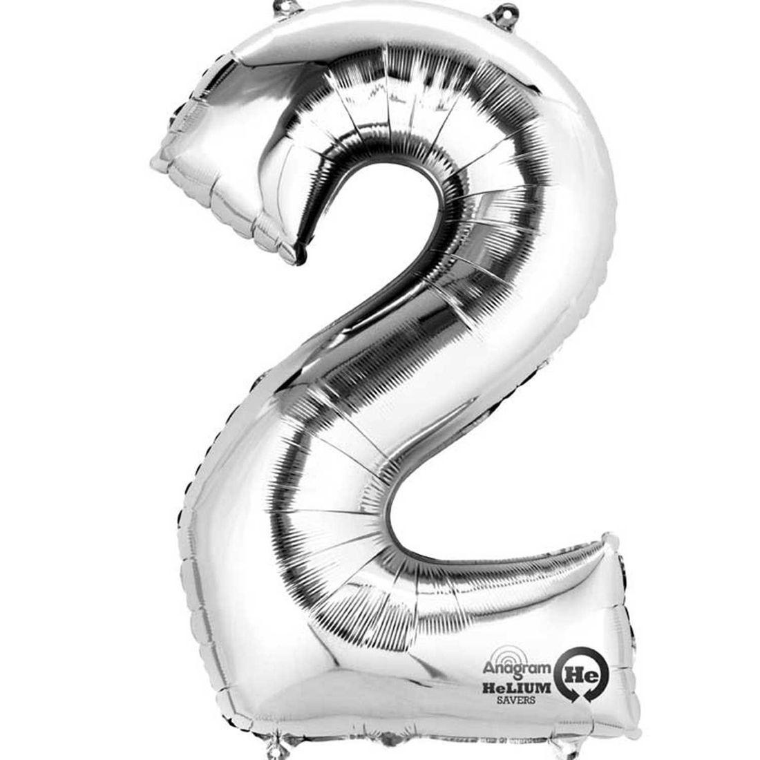 Large silver 2 balloon