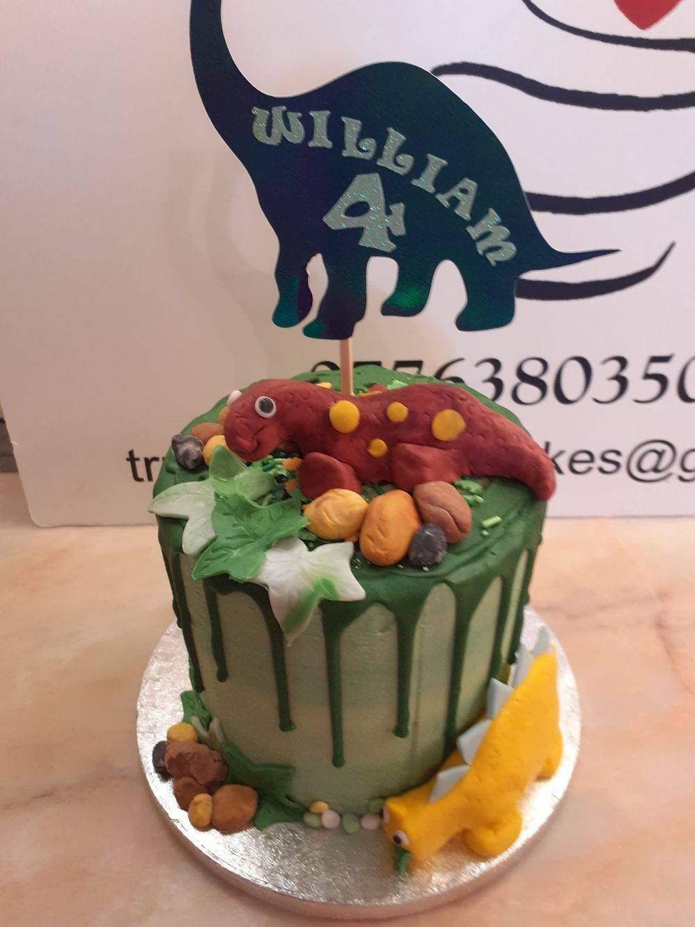 Dinosaur themed Drip Cake