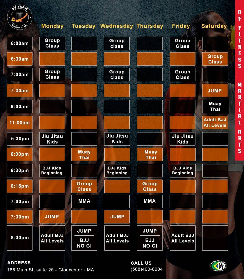 Schedule week jiu-jitsu, muay-thai, group class, MMA