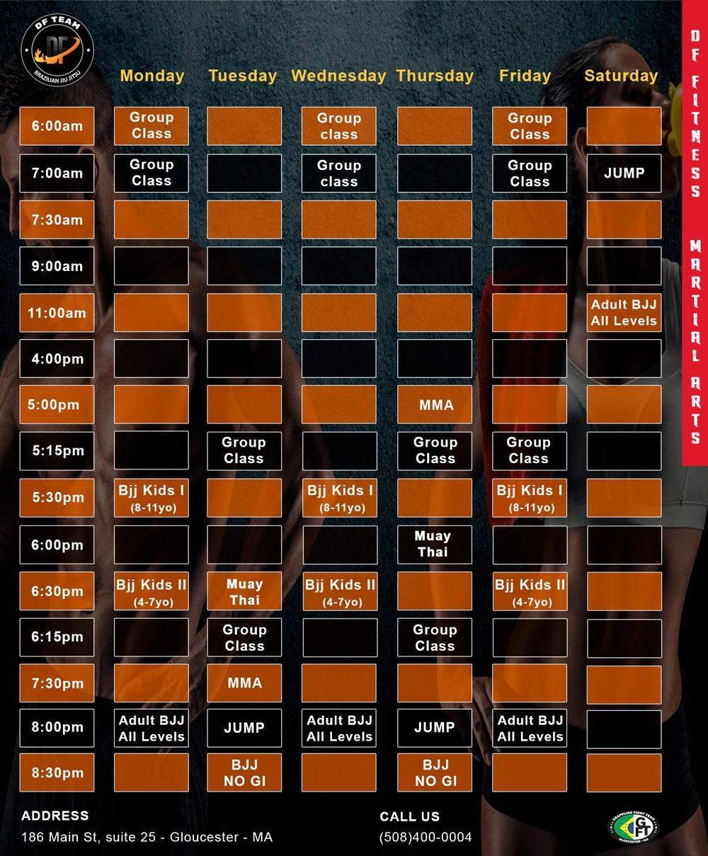 Schedule week jiu-jitsu, JUMP, muay-thai, group class, MMA