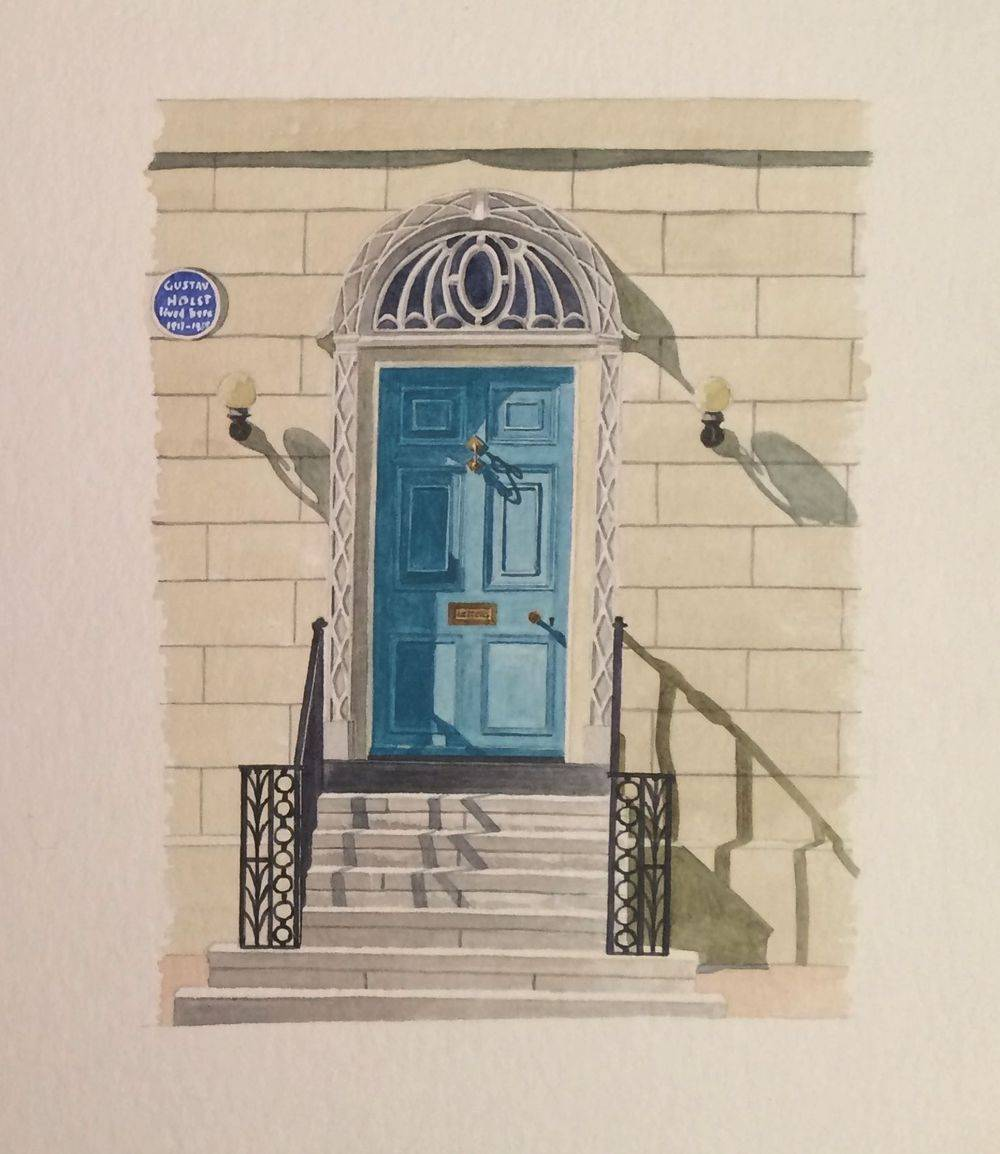 Doorway 4. Town Street, Thaxted. Home of Gustav Holst. : Watercolour £45