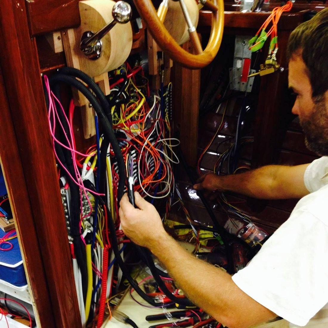 Lars Bergersen installing wiring on Lyman