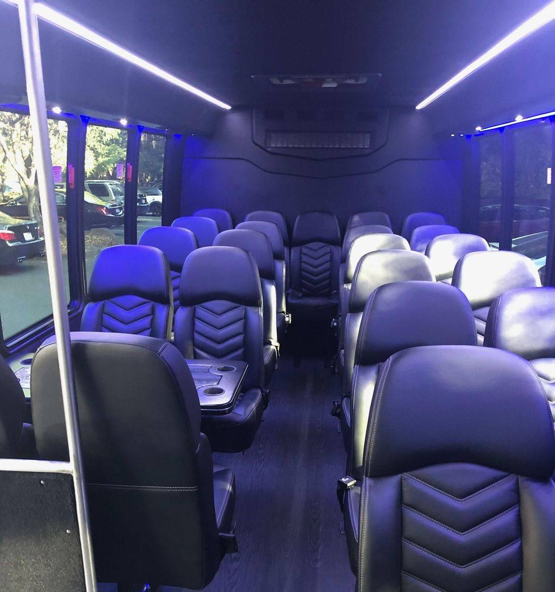 The inside rear view in a 23 Passenger Executive Coach Bus from Napa Sonoma Wine Tasting Driver.
