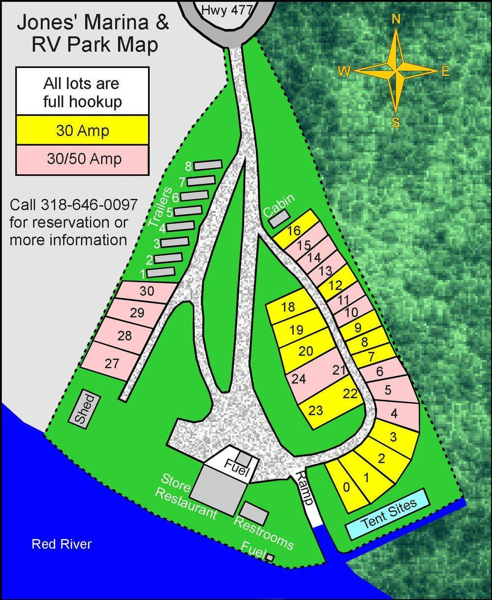 RV Park, map, lots, river, store, cabin, trailers, direction
