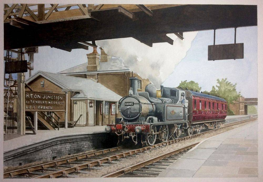 1400 class loco no 1445 at Woofferton junction (watercolour) : £295