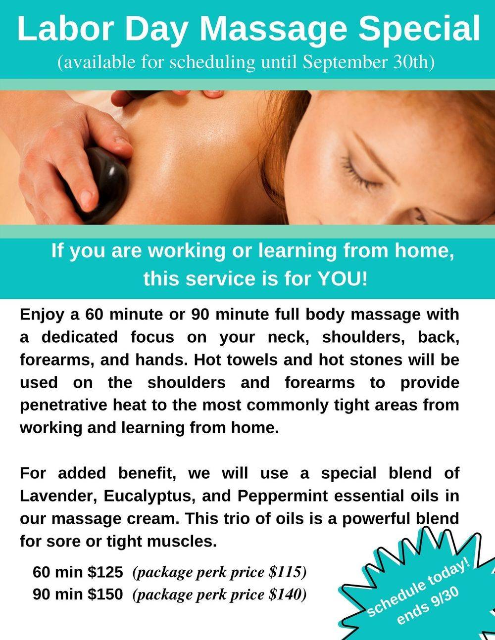 Labor sale and special on massage services in Alexandria Virginia