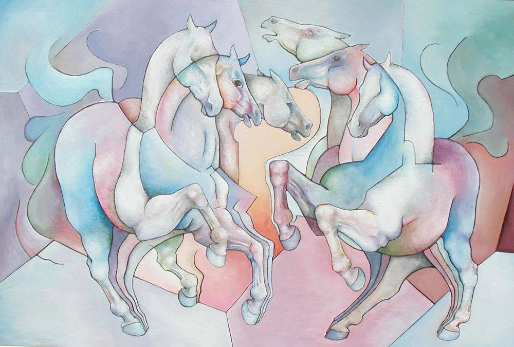 Galloping Horses.  Cubism, Modern Contemporary Art, Painting
