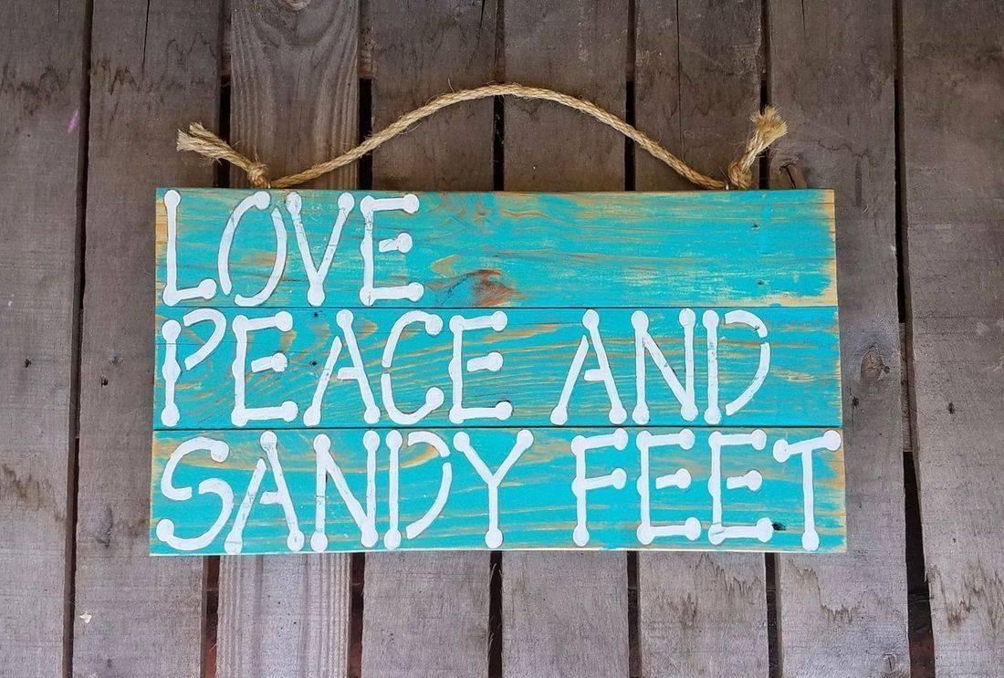 USA Handmade Reclaimed Pallet Wood Beach Sign Decor Love Peace