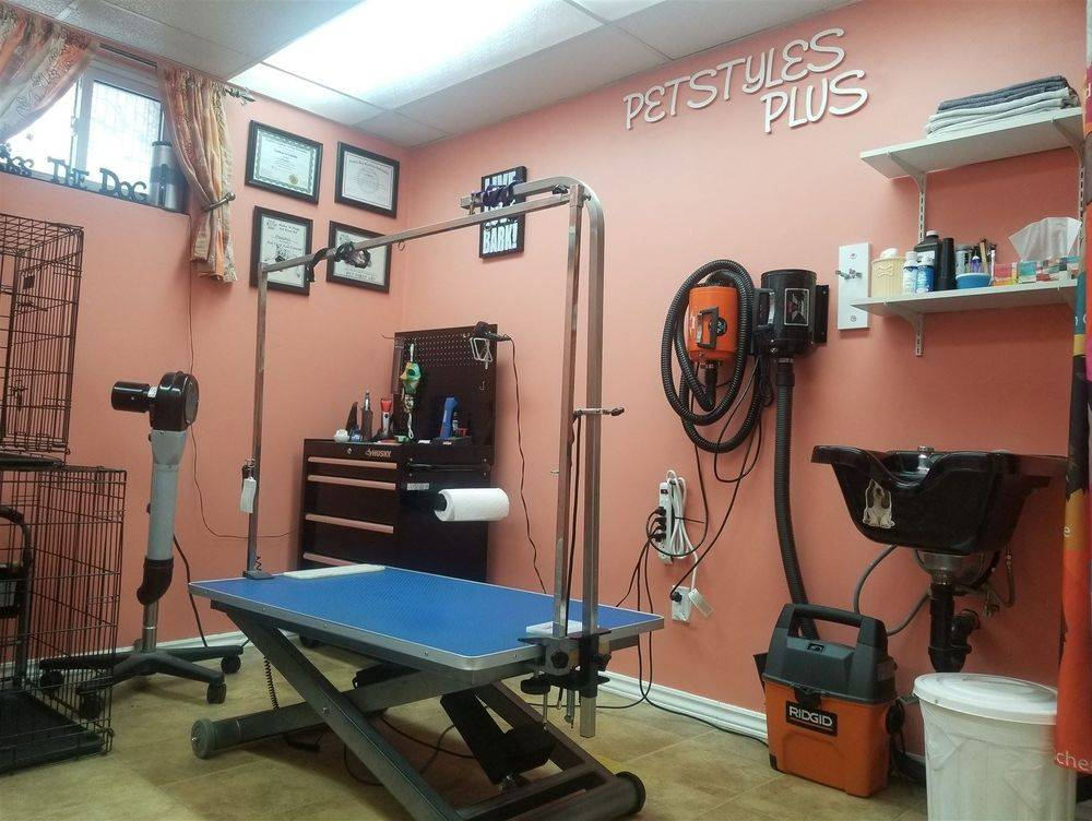 Bright spacious grooming area. Petstyles Plus,Certified Dog Groomer