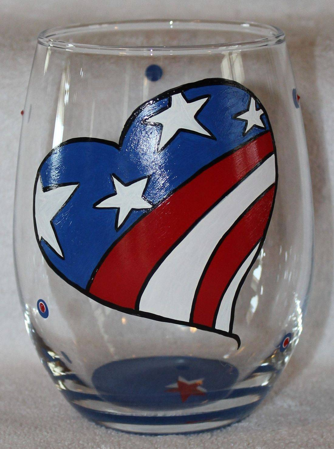 heart wine glass, flag wine glass, patriotic wine glass