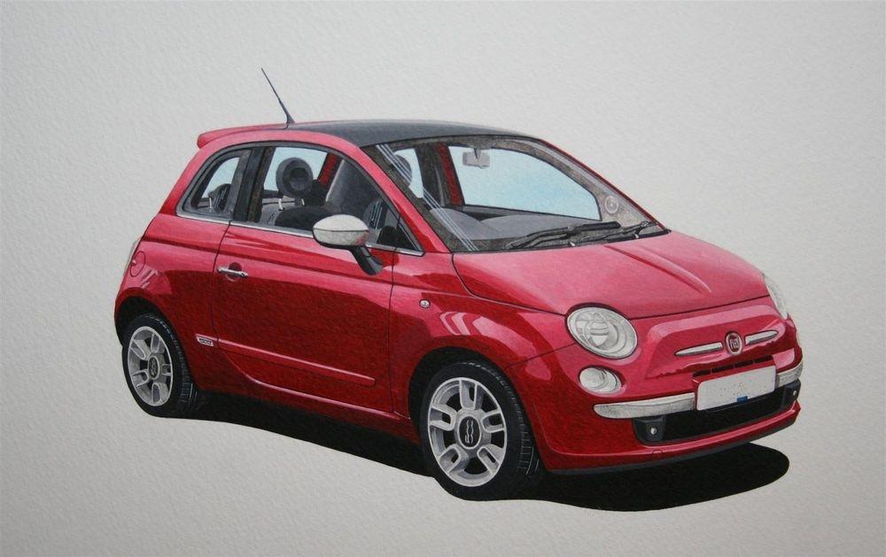 Fiat 500 Sport (Acrylic) : Commission (UK)
