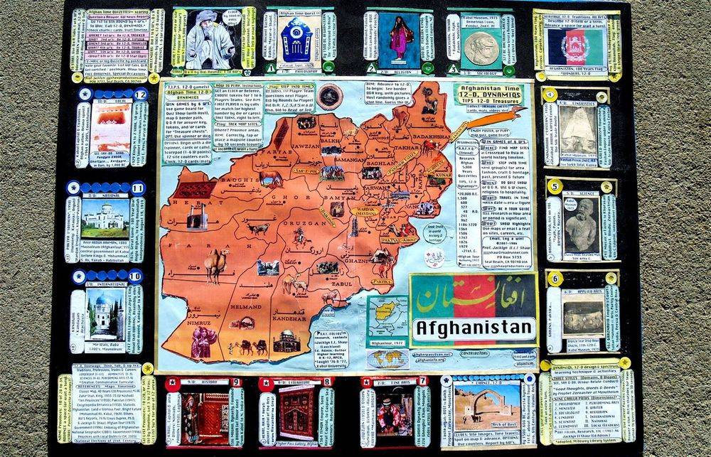 Trading game card, heritage postcard & game board or display