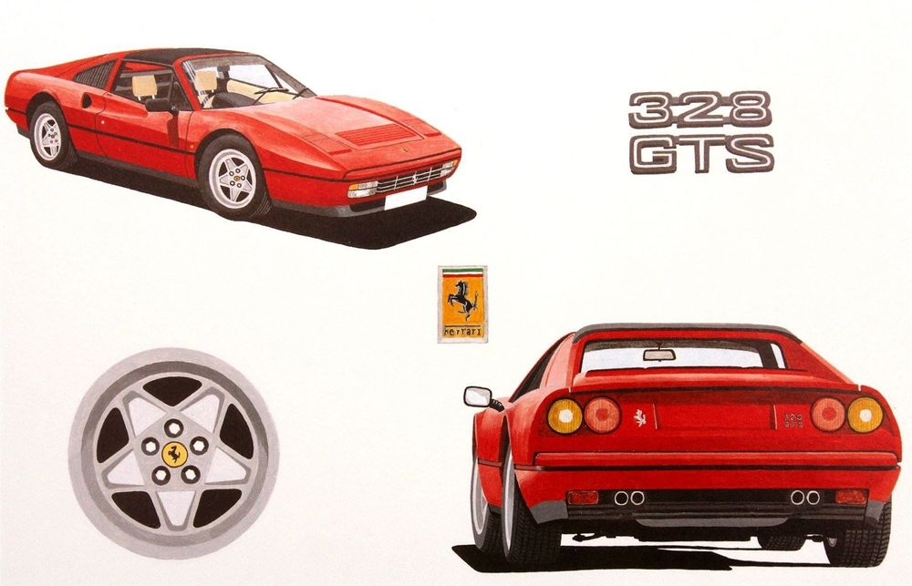 328 GTS Multi View : Size Approx 32cm x 44cm (17 x 12.5 inches)