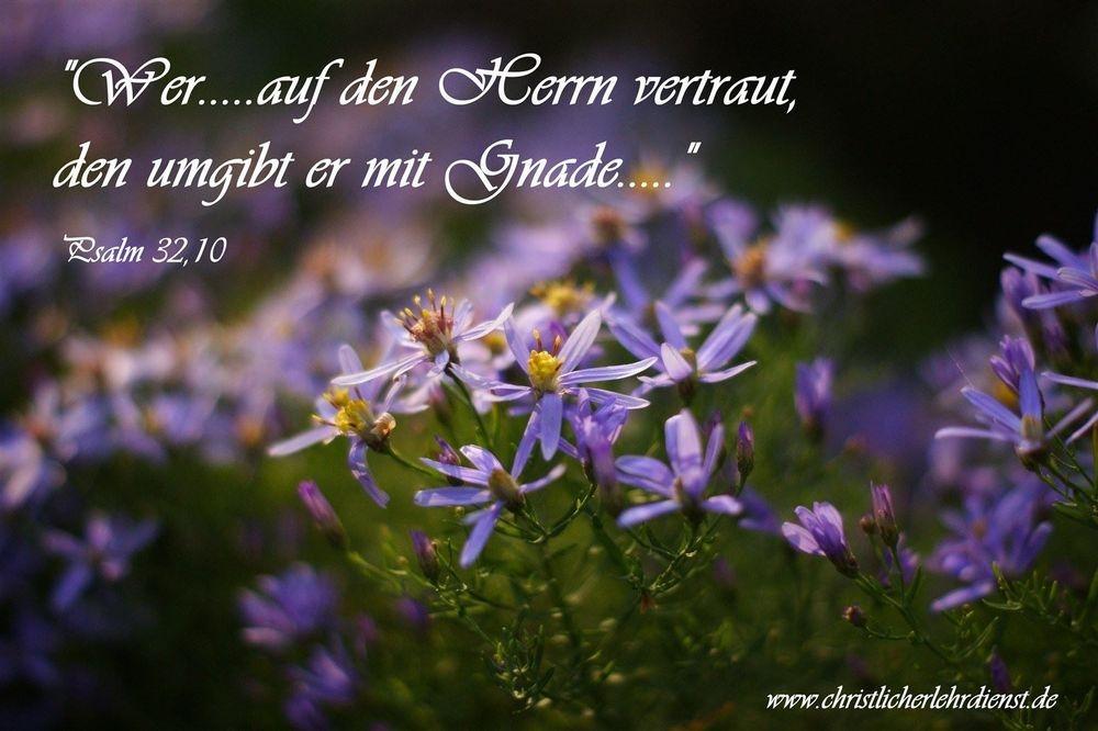 """Glauben """"Wer.........auf den Herrn vertraut, den umgibt er mit Gnade...."""" Psalm 32,10 Vertrauen ist ein anderes Wort für Glauben. Glauben, Vertrauen und Gnade stehen in einem engen Verhältnis zueinander. Denn wenn wir etwas von Gott geschenkt bekommen, können wir dies nicht erarbeiten, sondern nur darauf vertrauen das es uns geschenkt worden ist."""