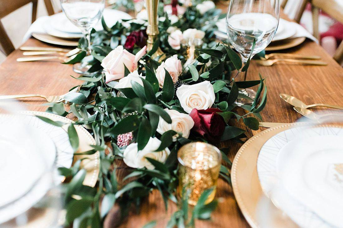 Reception table, Garland centerpiece, Greenery, gold details Ivy, Pink Peony, Astilbe,  Blush Roses, Ivory Roses, Wine Roses