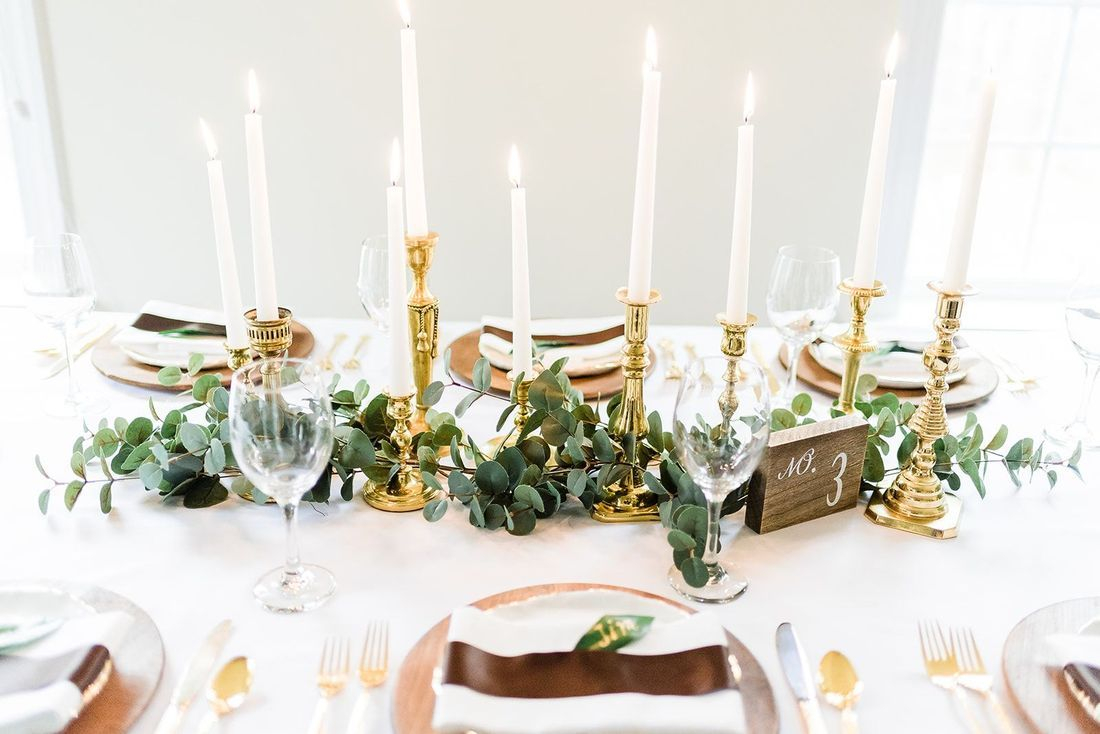 Candle light wedding, Gold wedding decor, wood wedding decor, wood chargers, eucalyptus reception table, wedding reception table