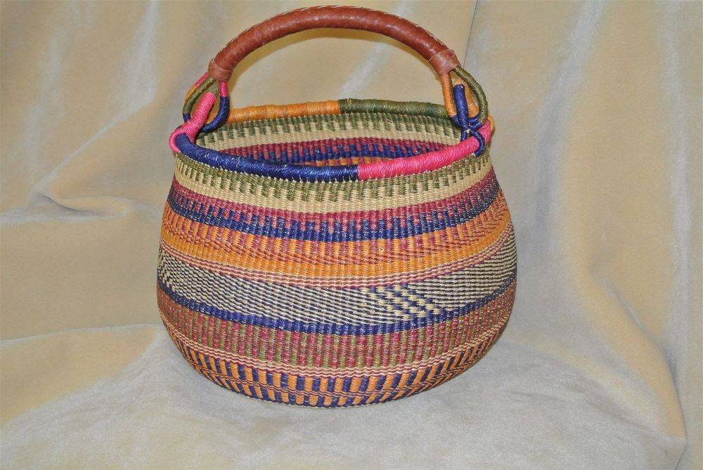 "Gambi Basket 18"" diameter. One goat hide leather handle. Grade A/(Extra smooth inside). No choice of color. CLICK ON IMAGE TO ENLARGE."